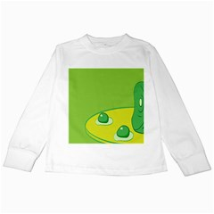 Food Egg Minimalist Yellow Green Kids Long Sleeve T Shirts by Alisyart