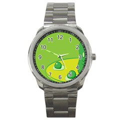 Food Egg Minimalist Yellow Green Sport Metal Watch by Alisyart