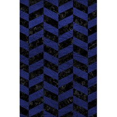 Chevron1 Black Marble & Blue Leather 5 5  X 8 5  Notebook
