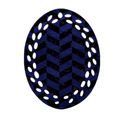 Chevron1 Black Marble & Blue Leather Oval Filigree Ornament (two Sides) by trendistuff