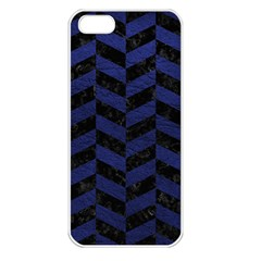 Chevron1 Black Marble & Blue Leather Apple Iphone 5 Seamless Case (white)