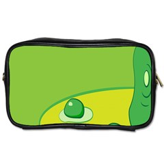 Food Egg Minimalist Yellow Green Toiletries Bags 2 Side by Alisyart