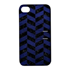 Chevron1 Black Marble & Blue Leather Apple Iphone 4/4s Hardshell Case With Stand by trendistuff