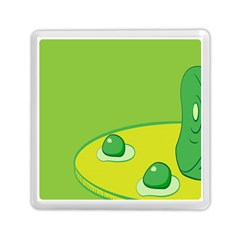 Food Egg Minimalist Yellow Green Memory Card Reader (square)  by Alisyart