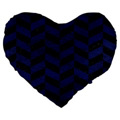 Chevron1 Black Marble & Blue Leather Large 19  Premium Flano Heart Shape Cushion by trendistuff