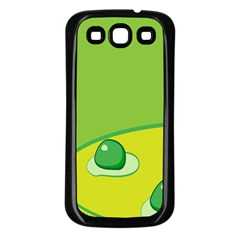 Food Egg Minimalist Yellow Green Samsung Galaxy S3 Back Case (black) by Alisyart