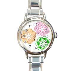 Flower Floral Love Valentine Star Pink Orange Green Round Italian Charm Watch by Alisyart
