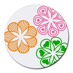 Flower Floral Love Valentine Star Pink Orange Green Round Mousepads by Alisyart