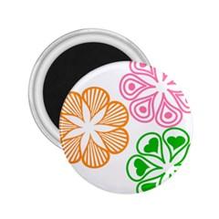 Flower Floral Love Valentine Star Pink Orange Green 2 25  Magnets by Alisyart