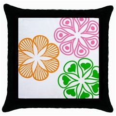 Flower Floral Love Valentine Star Pink Orange Green Throw Pillow Case (black) by Alisyart