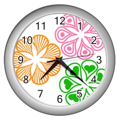 Flower Floral Love Valentine Star Pink Orange Green Wall Clocks (silver)  by Alisyart