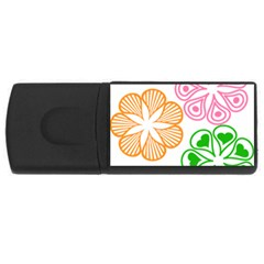 Flower Floral Love Valentine Star Pink Orange Green Usb Flash Drive Rectangular (4 Gb) by Alisyart