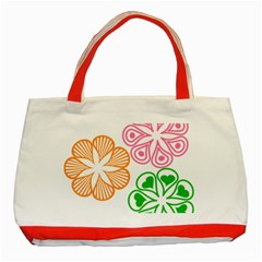 Flower Floral Love Valentine Star Pink Orange Green Classic Tote Bag (red) by Alisyart