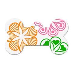 Flower Floral Love Valentine Star Pink Orange Green Dog Tag Bone (two Sides) by Alisyart