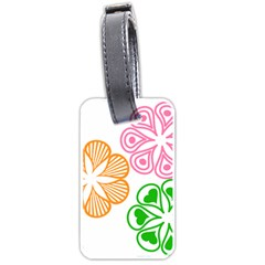 Flower Floral Love Valentine Star Pink Orange Green Luggage Tags (one Side)  by Alisyart