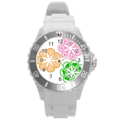 Flower Floral Love Valentine Star Pink Orange Green Round Plastic Sport Watch (l) by Alisyart