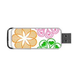 Flower Floral Love Valentine Star Pink Orange Green Portable Usb Flash (one Side) by Alisyart