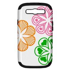 Flower Floral Love Valentine Star Pink Orange Green Samsung Galaxy S Iii Hardshell Case (pc+silicone)