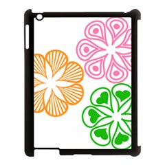 Flower Floral Love Valentine Star Pink Orange Green Apple Ipad 3/4 Case (black) by Alisyart