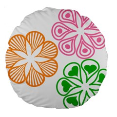 Flower Floral Love Valentine Star Pink Orange Green Large 18  Premium Round Cushions by Alisyart