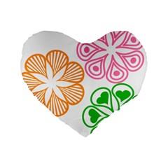 Flower Floral Love Valentine Star Pink Orange Green Standard 16  Premium Heart Shape Cushions by Alisyart