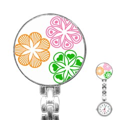 Flower Floral Love Valentine Star Pink Orange Green Stainless Steel Nurses Watch by Alisyart