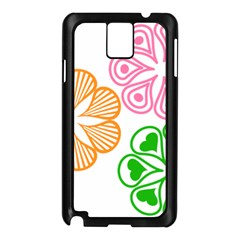 Flower Floral Love Valentine Star Pink Orange Green Samsung Galaxy Note 3 N9005 Case (black)