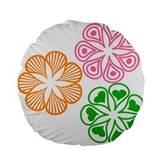 Flower Floral Love Valentine Star Pink Orange Green Standard 15  Premium Flano Round Cushions by Alisyart