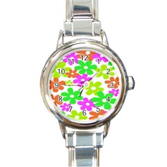 Flowers Floral Sunflower Rainbow Color Pink Orange Green Yellow Round Italian Charm Watch by Alisyart