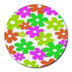Flowers Floral Sunflower Rainbow Color Pink Orange Green Yellow Round Mousepads by Alisyart