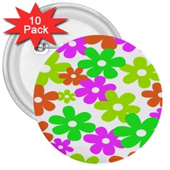 Flowers Floral Sunflower Rainbow Color Pink Orange Green Yellow 3  Buttons (10 Pack)  by Alisyart