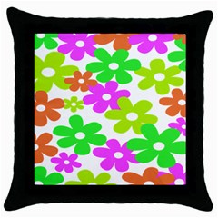 Flowers Floral Sunflower Rainbow Color Pink Orange Green Yellow Throw Pillow Case (black) by Alisyart