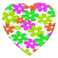 Flowers Floral Sunflower Rainbow Color Pink Orange Green Yellow Jigsaw Puzzle (heart) by Alisyart