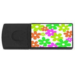 Flowers Floral Sunflower Rainbow Color Pink Orange Green Yellow Usb Flash Drive Rectangular (4 Gb) by Alisyart