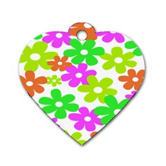 Flowers Floral Sunflower Rainbow Color Pink Orange Green Yellow Dog Tag Heart (two Sides) by Alisyart