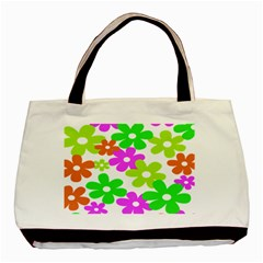 Flowers Floral Sunflower Rainbow Color Pink Orange Green Yellow Basic Tote Bag (two Sides) by Alisyart