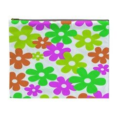 Flowers Floral Sunflower Rainbow Color Pink Orange Green Yellow Cosmetic Bag (xl) by Alisyart