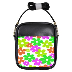 Flowers Floral Sunflower Rainbow Color Pink Orange Green Yellow Girls Sling Bags by Alisyart