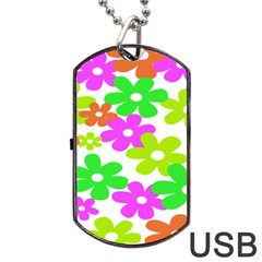 Flowers Floral Sunflower Rainbow Color Pink Orange Green Yellow Dog Tag Usb Flash (one Side) by Alisyart