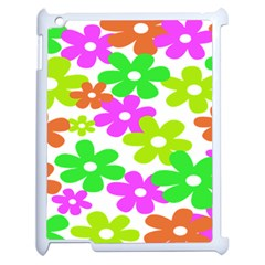 Flowers Floral Sunflower Rainbow Color Pink Orange Green Yellow Apple Ipad 2 Case (white) by Alisyart
