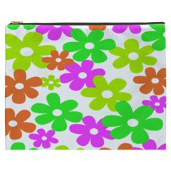 Flowers Floral Sunflower Rainbow Color Pink Orange Green Yellow Cosmetic Bag (xxxl)  by Alisyart