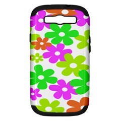 Flowers Floral Sunflower Rainbow Color Pink Orange Green Yellow Samsung Galaxy S Iii Hardshell Case (pc+silicone) by Alisyart