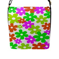 Flowers Floral Sunflower Rainbow Color Pink Orange Green Yellow Flap Messenger Bag (l)  by Alisyart