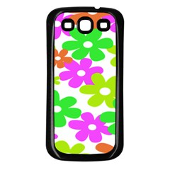 Flowers Floral Sunflower Rainbow Color Pink Orange Green Yellow Samsung Galaxy S3 Back Case (black) by Alisyart