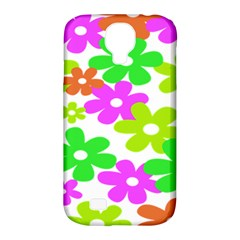 Flowers Floral Sunflower Rainbow Color Pink Orange Green Yellow Samsung Galaxy S4 Classic Hardshell Case (pc+silicone)