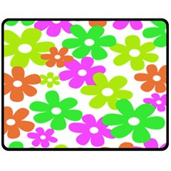 Flowers Floral Sunflower Rainbow Color Pink Orange Green Yellow Double Sided Fleece Blanket (medium)  by Alisyart