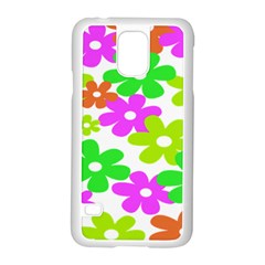 Flowers Floral Sunflower Rainbow Color Pink Orange Green Yellow Samsung Galaxy S5 Case (white)