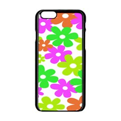 Flowers Floral Sunflower Rainbow Color Pink Orange Green Yellow Apple Iphone 6/6s Black Enamel Case by Alisyart
