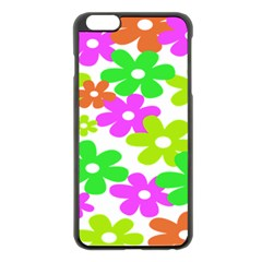 Flowers Floral Sunflower Rainbow Color Pink Orange Green Yellow Apple Iphone 6 Plus/6s Plus Black Enamel Case by Alisyart