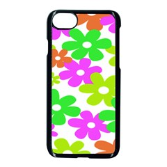 Flowers Floral Sunflower Rainbow Color Pink Orange Green Yellow Apple Iphone 7 Seamless Case (black) by Alisyart